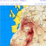 Concentrazione di sabbia nell'atmosfera prevista per venerdi ore 18 UTC